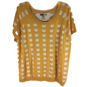 MODCLOTH | Fervour top cat print knit yellow 2X